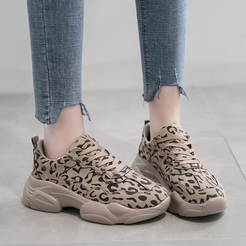 COOTELILI Spring Autumn Sneakers Women Flat Platform Casual Shoes Woman Oxfords Lace up Breathable Women Shoes Leopard
