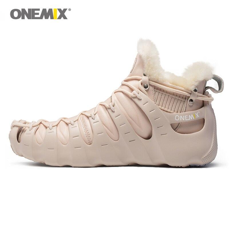 Onemix зимние сапоги для Для мужчин и женские модные прогулочные ботинки уличная походная обувь без клея кроссовки теплая обувь