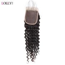 Lolly Brazilian Deep Wave Closure Free/Middle/Three Part 4X4 Inch Swiss Lace Closure Non Remy Natural Color Human Hair Closure