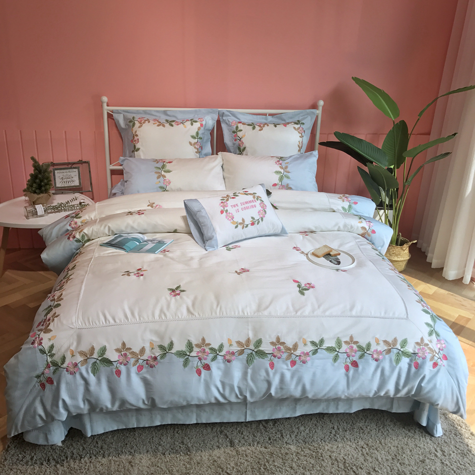 Постельное белье из египетского хлопка роскошное постельное белье с вышивкой пододеяльник простыня набор современный Дизайн высокое каче