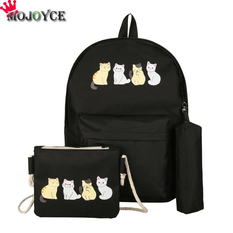 3Pcs/Set Cute Cats Print Canvas Backpacks Clutch Shoulder Composite Shouler Bag Girls Student College Schoolbags