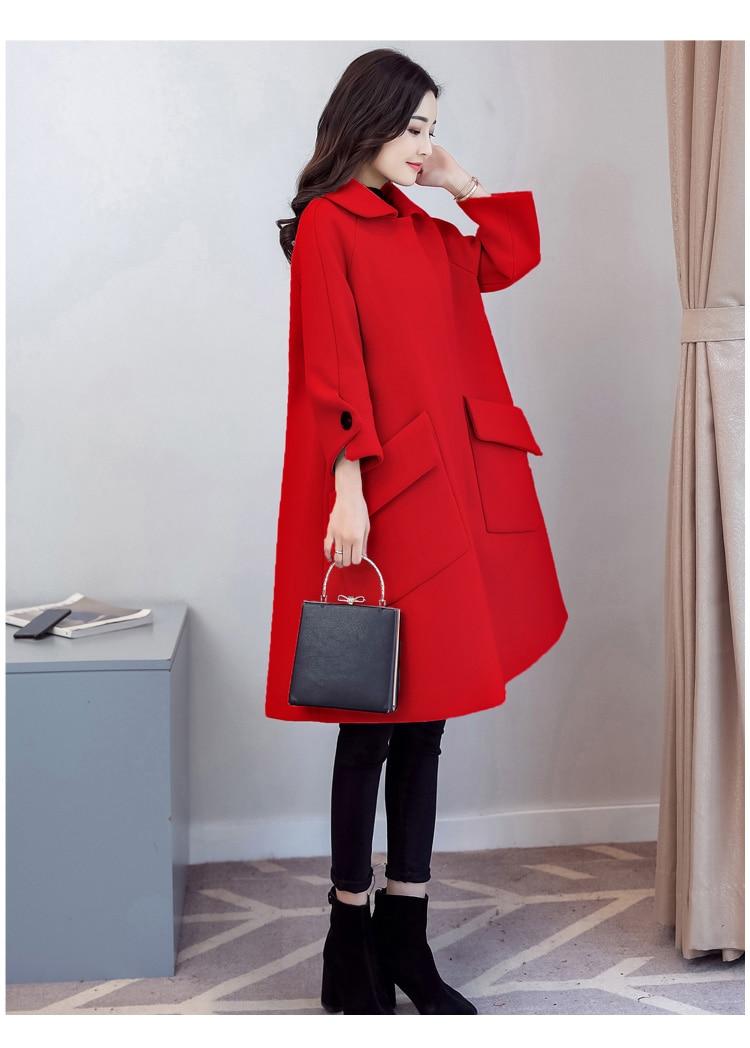 Hem Taille Poche Caractère Design Pour Les Apparence Ont Manteau Revers Un Grande 2019 Brown Big Femmes Laine De Nouveau nxYqII8T