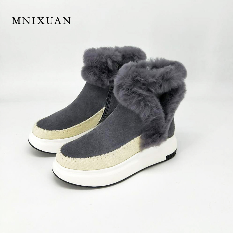 MNIXUAN high quality boots snow boot for woman winter shoes 2017 newborn genuine leather warm with zipper flat platform fur shoe keaiqianjin woman studded snow boots pink black winter genuine leather flat shoes flower platform fur crystal ankle boot 2017