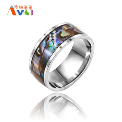 Amgjee multicolor abalone shell rings stainless steel ring men cool wedding bands ring knuckles jewelry male.jpg 250x250