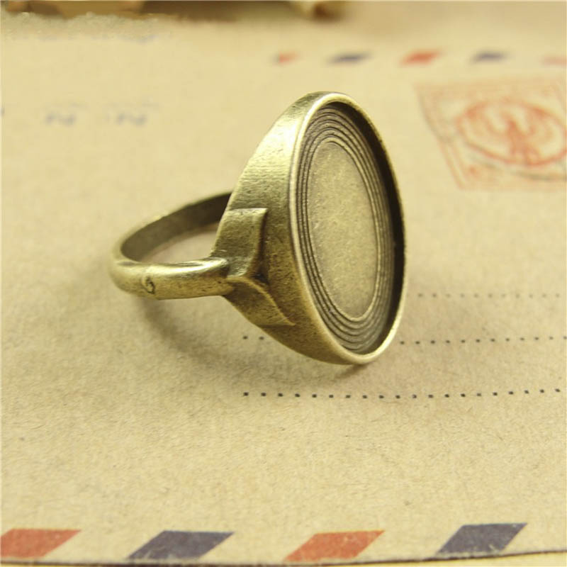 2pcs Antique Bezel Adjustable Ring Base Blank Oval Cabochon Cameo Tray Setting Metal Findings 18mm x 13mm