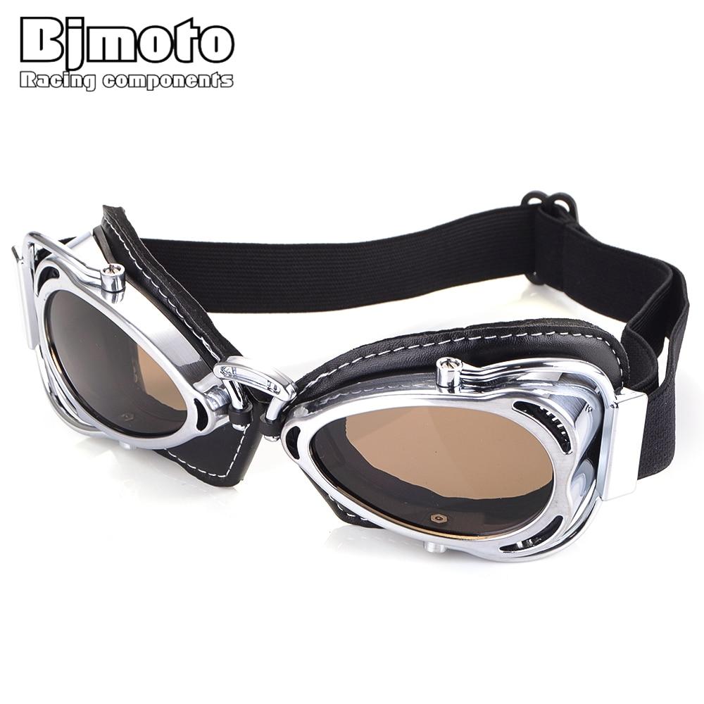 BJMOTO 2019 Cafe Racer Jet Ski Gafas 100% Motorcycle Goggles Pilot Aviator Motorbike Biker Glasses For Helmet