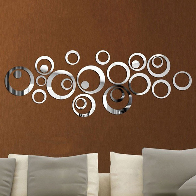 Fashion Home Decor Circles Mirror Style Wall Sticker Decoration Removable Decal Art DIY Home Appliances decorative mirrors
