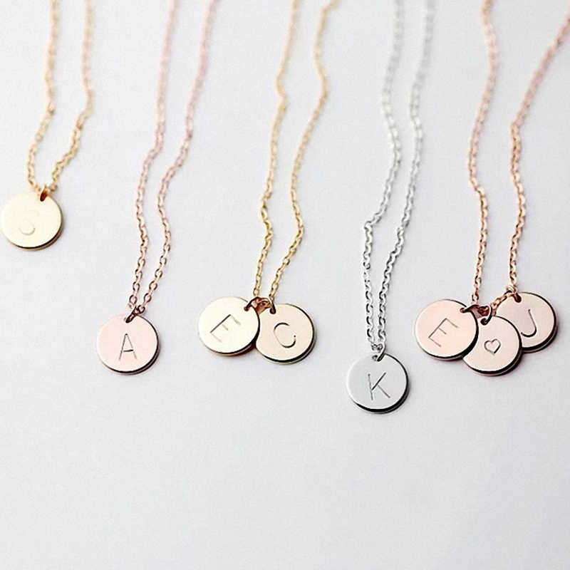 DIY Tiny Gold Initial Necklace Gold Silver Letter Fine Necklace Initials Name Necklaces Pendant for Women Best Birthday Gift