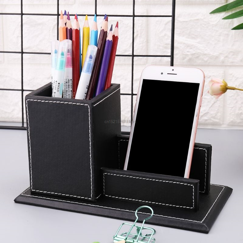 Office & School Supplies Search For Flights Multifunctional Office Desktop Decor Storage Box Leather Stationery Organizer Pen Pencils Remote Control Mobile Phone Holder Desk Accessories & Organizer