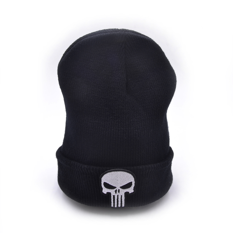 CLIMATE The Punisher Cool Black Skulls Winter Warm Beanie Men Skeleton Justiceiro Castigador Knitted Hat Adult Teenagers Boy the punisher volume 3