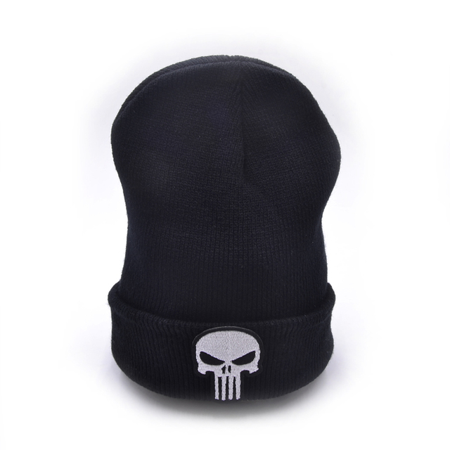 CLIMATE The Punisher Cool Black Skulls Winter Warm Beanie Men Skeleton  Justiceiro Castigador Knitted Hat Adult 34f14d91187