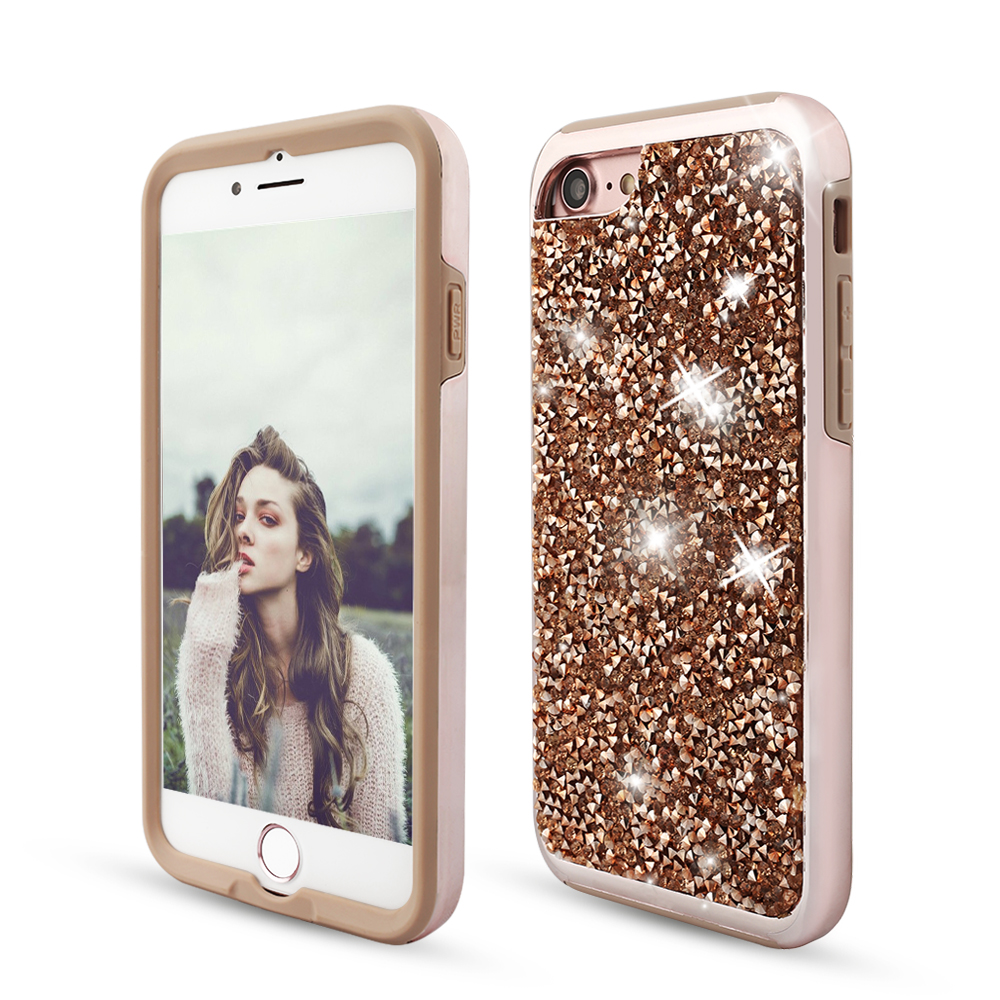 For Apple iPhone 6 6S Plus 7 7 Plus Case Shockproof Luxury Diamond Glitter Bling Dual Layer Rubber Phone Case For iPhone 6