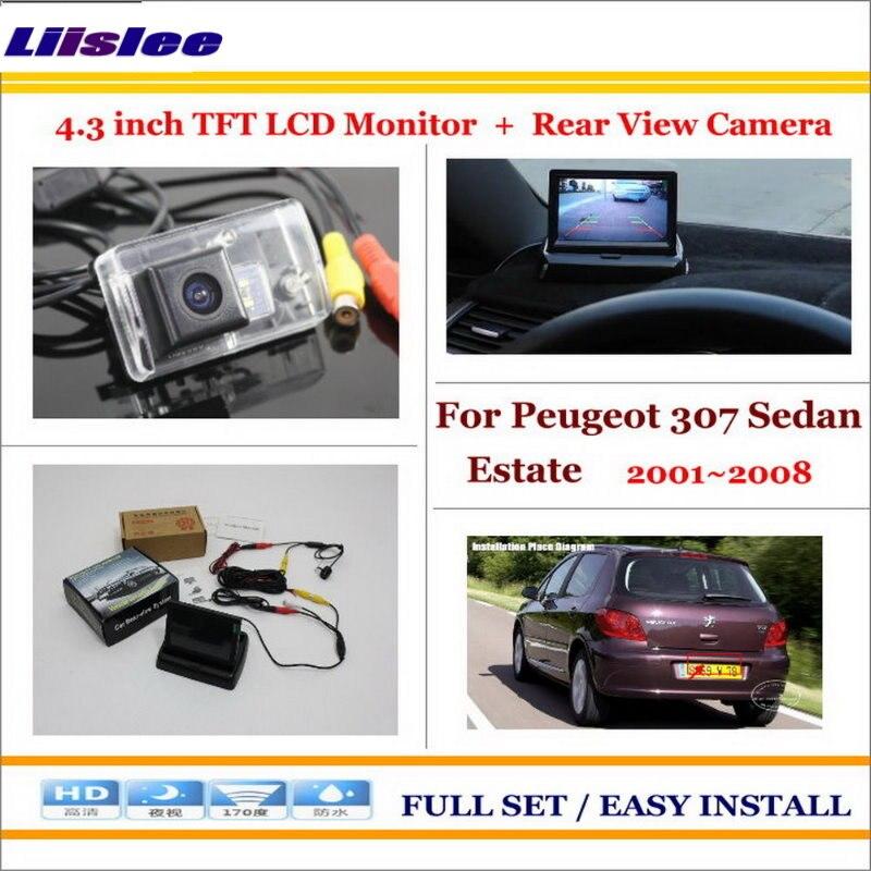 Liislee pour Peugeot 307 berline break 2001 ~ 2008-caméra de recul de voiture + moniteur d'écran LCD 4.3