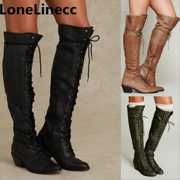цена на 2018 New high quality Leather Women Over The Knee Boots Lace Up Sexy High Heels Women Shoes Lace Up Winter Boots Warm Size 34-43