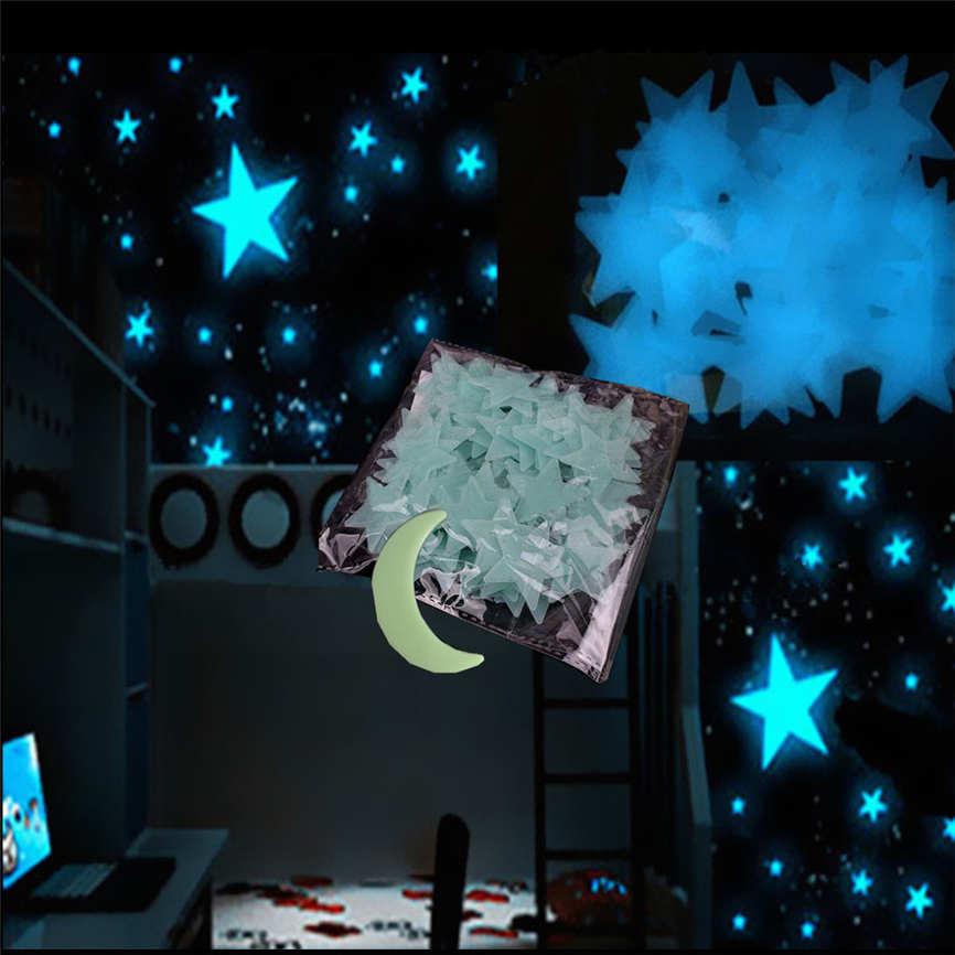Wallpaper Sticker 101Pcs Kids Star Moon Glowing in Dark Wall Sticker Luminous Lighting Night Art Wallpapers For Living Room B#