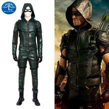New Arrival Men's Green Arrow Season 5 Cosplay Costume Deluxe Outfit Adult Carnival Party Cosplay Costume For Men цена и фото