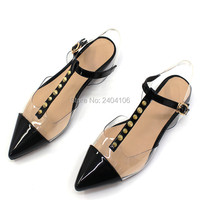 Black Patchwork Clear Transparent Jelly Shoes Casual Summer Flats Sandalet T Strap Pointed Toe Rivet Studded Flat Sandals Women