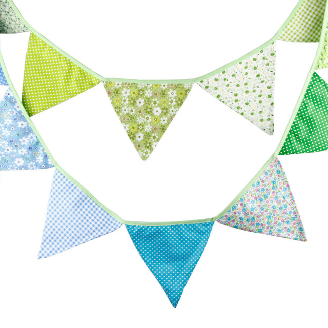 1pcs 3.2M Home Decoration Green Blue Bunting Banners Outdoor ...