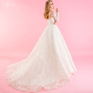 Image 4 - RSW1322 Real Pictures Yiaibridal Long Sleeve Wedding Dress Champagne Robe De Chambre