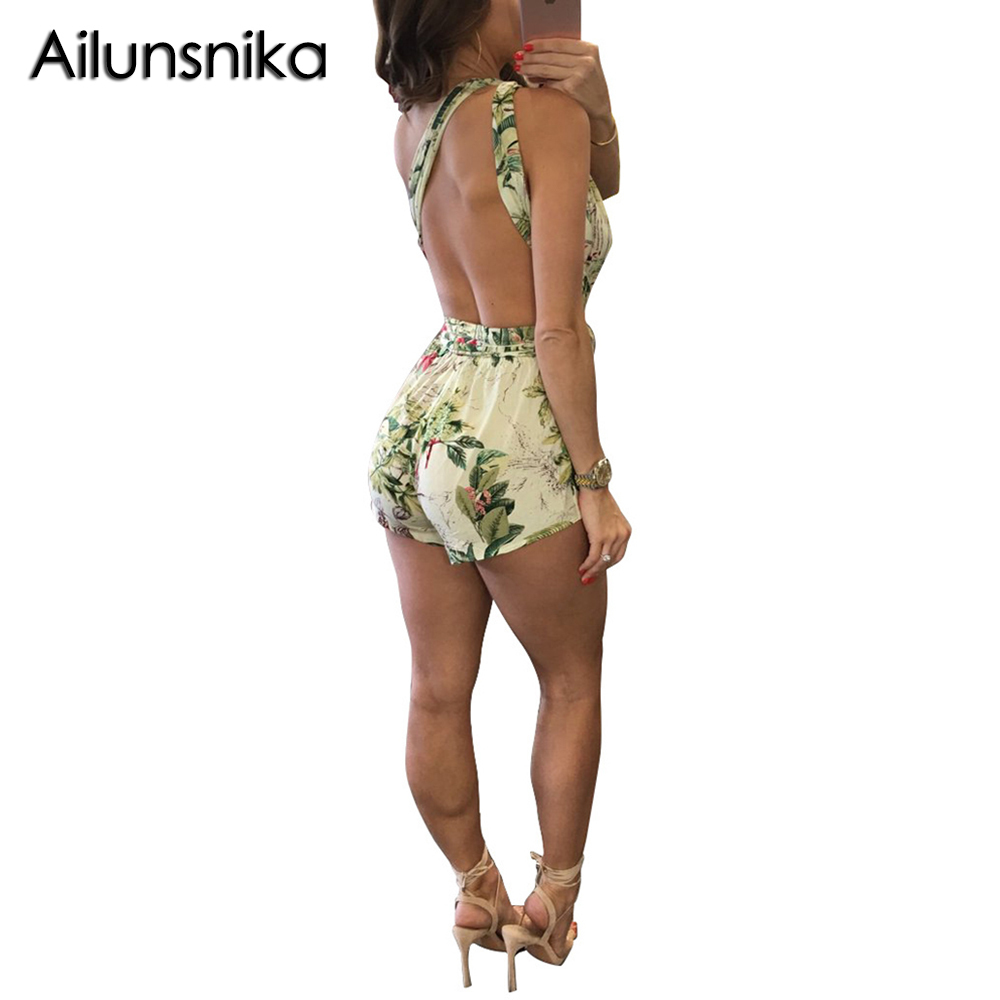 Ailunsnika 2018 Summer Women Short Jumpsuits Sexy Playsuit Deep V Neck Strap Fitness Rompers Femme Skinny Backless MN8096