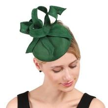 Леди зеленый бант украшают шляпу имитация льняной чародей База имитация элегантный для женщин зима millinery аксессуары для волос повязка на голову