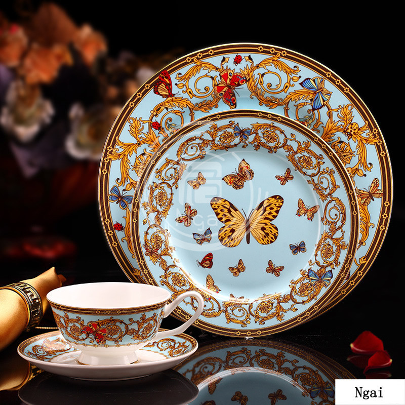 european luxurious butterfly design in glaze decoration bone china western dinnerware set steak. Black Bedroom Furniture Sets. Home Design Ideas