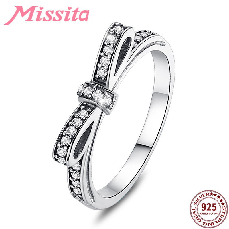 MISSITA 925 Sterling Silver Romantic Bowknot Rings for Women with Clear Crystal Valentine Day Gift Wedding Brand Jewelry in Rings from Jewelry Accessories