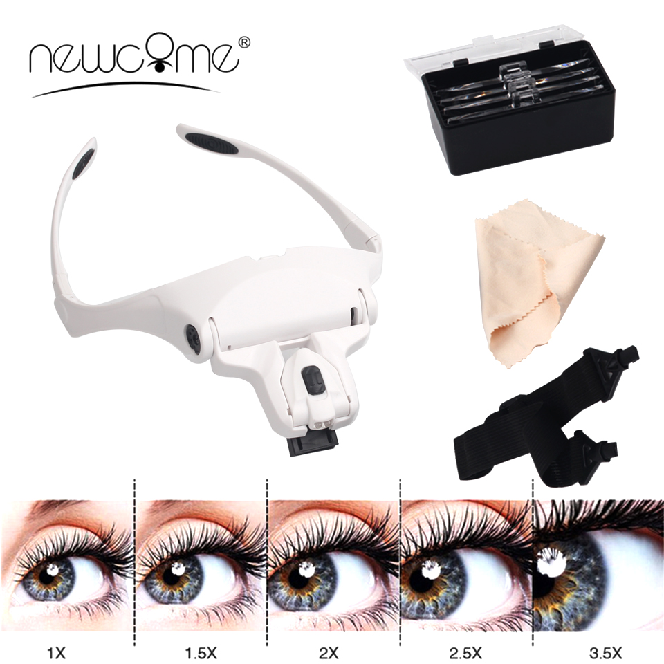 NEWCOME 5 Lens Adjustable Magnifier Eyelash Extension LED Headband Lights Lamp Eyelash Grafting Repair Tattoo Makeup Tools