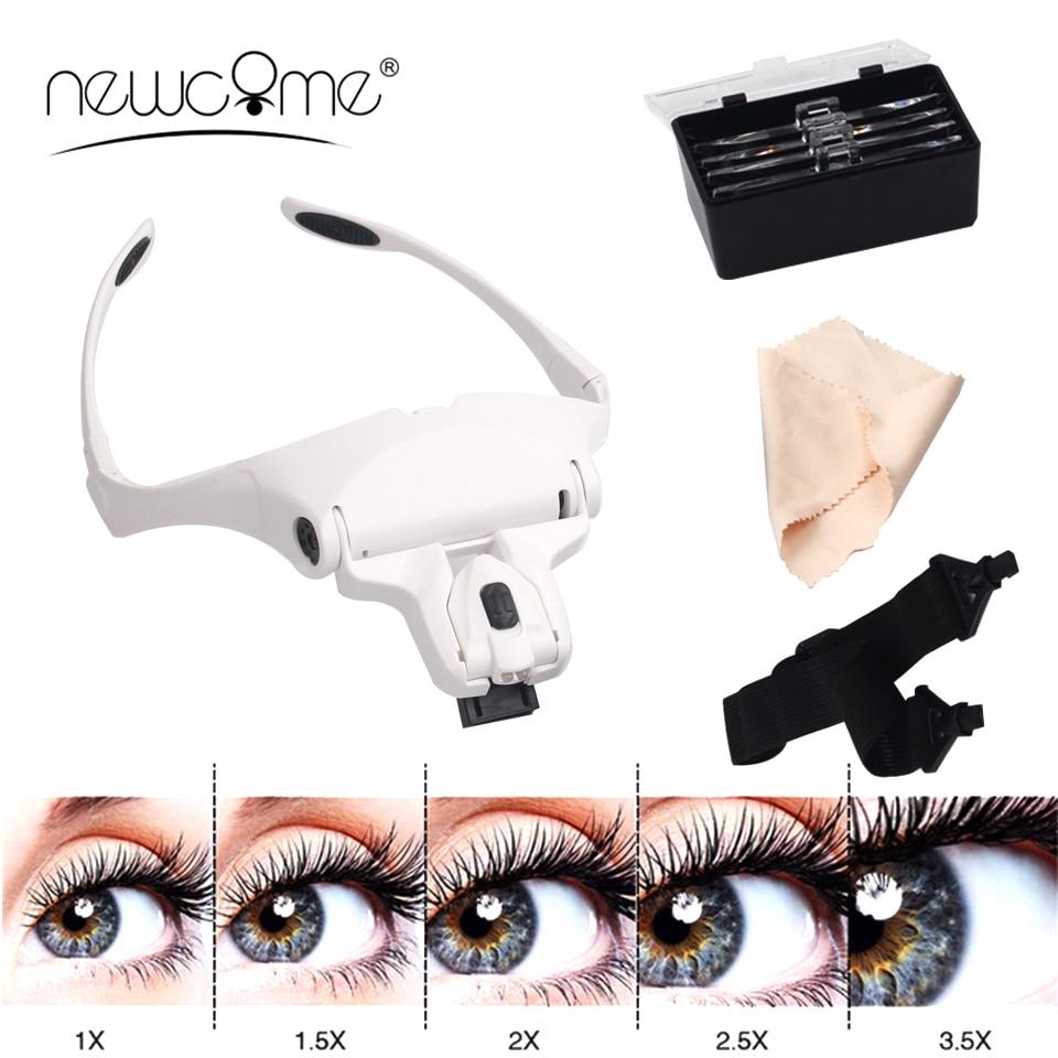 NEWCOME 5 Lens Adjustable Magnifier Eyelash Extension LED Headband Lights Lamp Eyelash Grafting Repair Tattoo Makeup Tools
