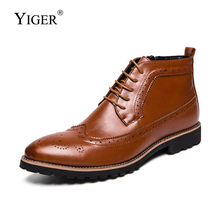 YIGER New Men Martin boots Man Ankle boots male Lace-up casual shoes men Bullock boots big size 38-45 High-top leather boots 226 mycolen new 2018 high top martin boots luxury fashion fashion leather men boots ankle motorcycle boots for male men shoe