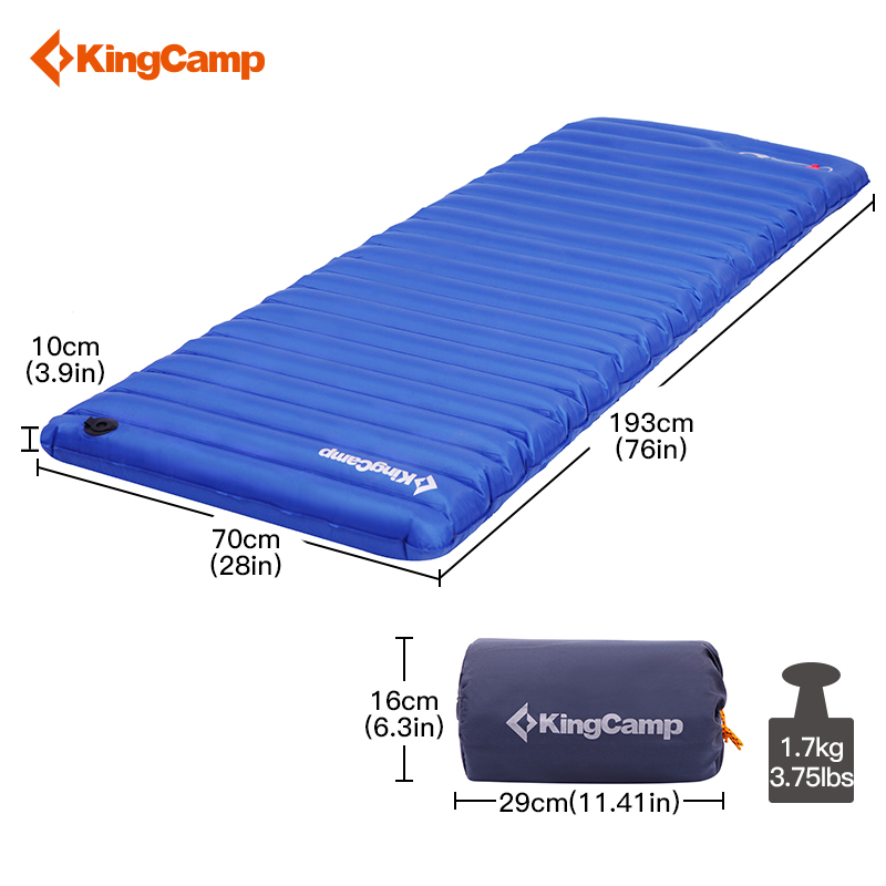KingCamp Inflatable Air Mattress Lightweight Single Camping Mat Tent Sleeping Pad PVC Durable Airbed for Outdoor Camping Hiking 2pcs set air bed inflatable couch mattress sleeping mats airbed outdoor camping with pump camping mat for camping