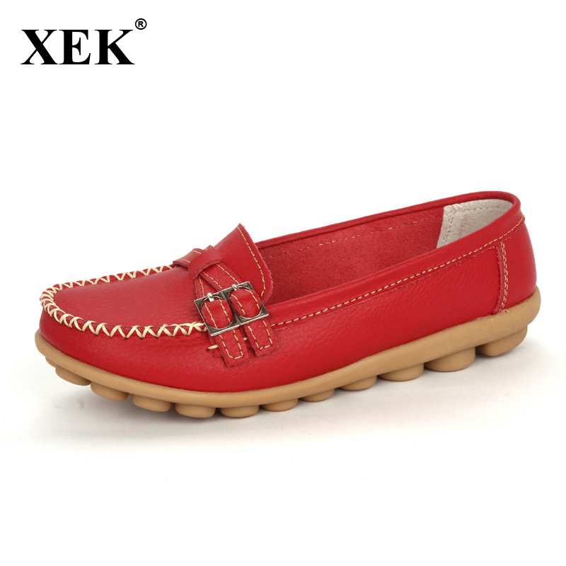 2017 Shoes Woman Genuine Leather Women Shoes Flats 8 Colors Buckle Loafers Slip On Women's Flat Shoes Moccasins Plus Size genuine leather flats women loafers woman slip on shoes casual skate walking flat shoes plus size 34 40 41 42 43