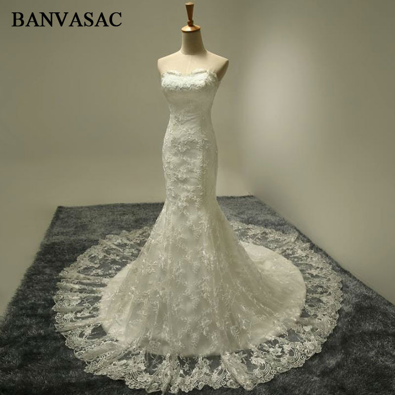 BANVASAC 2017 Ny Mermaid Lace Appliques Stroppeløs Bryllup Kjoler Sleeveless Satin Elegant Broderi Sweep Train Brudekjoler