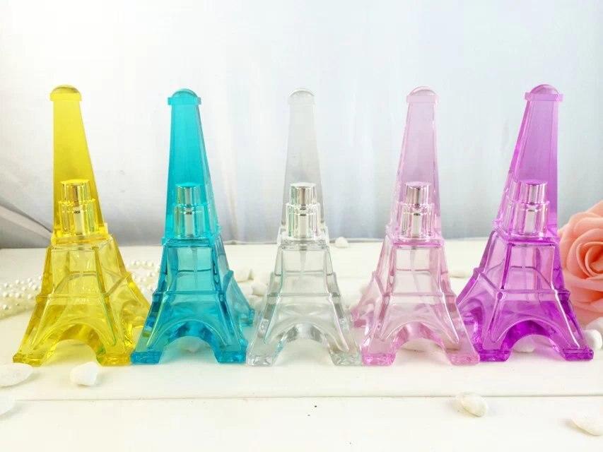 Nuevo 10 unids 30 ML Botellas de Spray de Perfume de Cristal Con Tapa de Color Torre Eiffel Estilo, 1 oz de vidrio Vacía Botella de Perfume y Desodorante