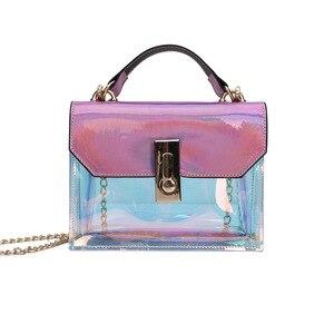 Image 2 - 패션 핸드백 메신저 가방 pvc 핸드백 버클 디자인 메신저 가방 레이저 어깨 가방