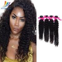 Sevengirls Peruvian Human Hair Bundles Virgin Hair Deep Curly Bundles Human Hair Weave 1/3/4 Pieces Can Be Dyed Extension
