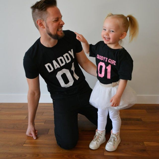 585361c0b Family Matching Clothes Father Daughter T Shirt DADDY'S GIRL Tees Shirts  Tops Fathers Day Gift Summer Men short sleeve t shirt