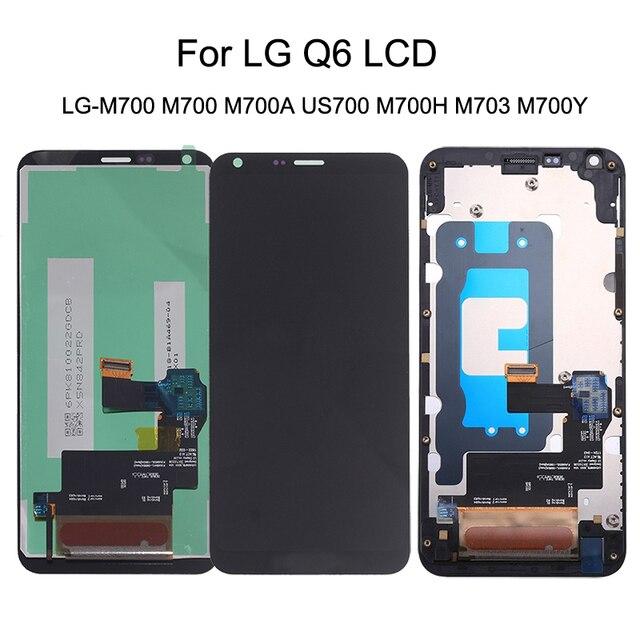 5.5 originale Per LG Q6 LG M700 M700 M700A US700 M700H M703 M700Y Display LCD + Touch Screen Digitizer kit di Parti Del Telefono con Cornice