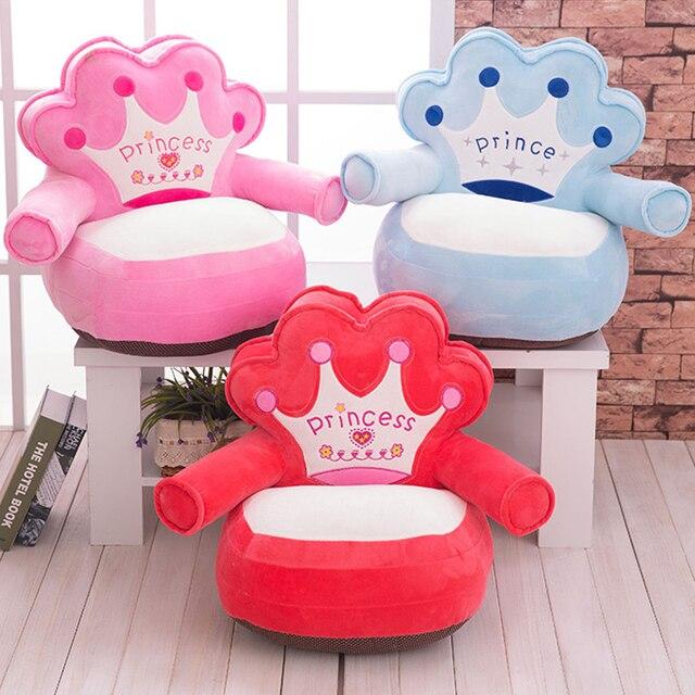 Apenas Cobrir NENHUM Enchimento New Baby Crianças Dos Desenhos Animados Suave Tampa Do Sofá Coroa Urso Crianças Assento Confortável Puff Pele Da Criança Crianças sofá
