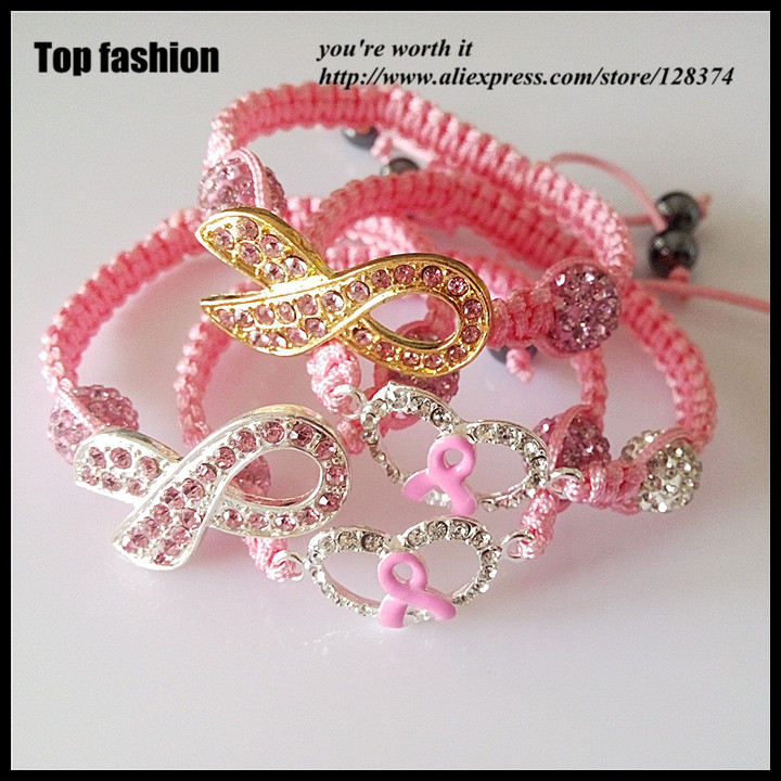 12pcs 4style wholesale pink Ribbon breast cancer awareness rhinestone cley  beads ribbon shamballa bracelets for women-in Charm Bracelets from Jewelry  ... 7dcc4f460b26