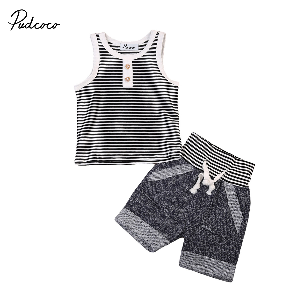 Summer Newborn Toddler Kids Boys Striped Vest Cotton Clothes T-Shirt Tops+ Rope Shorts Pants Outfits Set Two Piece 2pcs children outfit clothes kids baby girl off shoulder cotton ruffled sleeve tops striped t shirt blue denim jeans sunsuit set