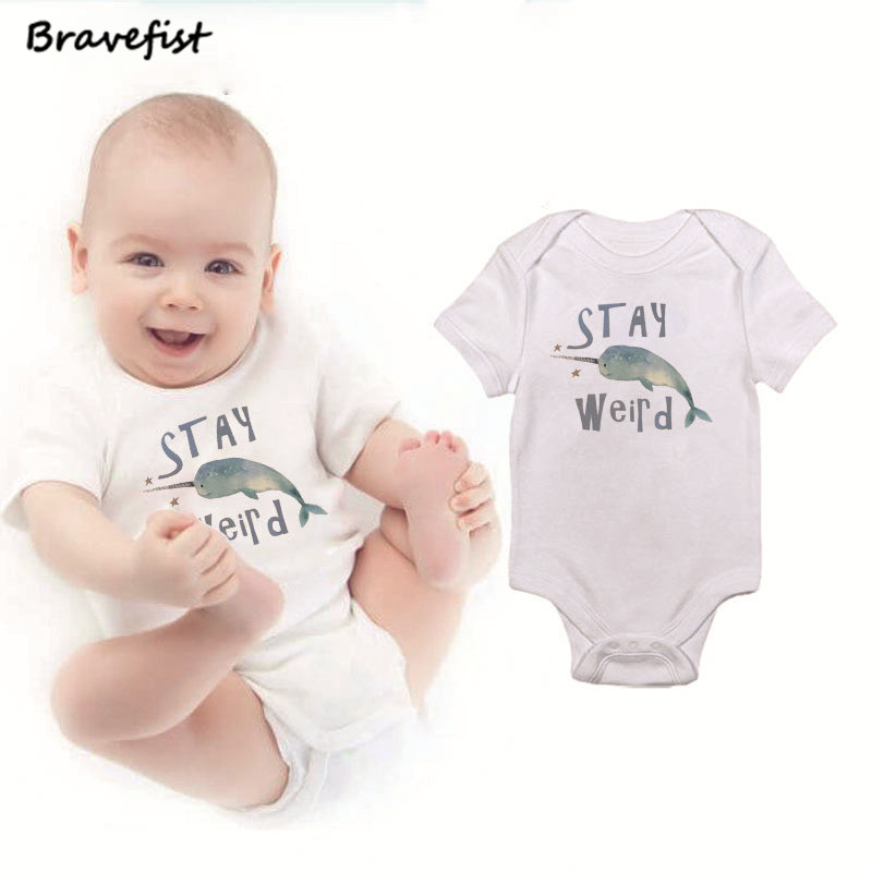 Toddler Baby Girl Boy Cute Narwhal OutfitsRomper Jumpsuit Short Sleeved Bodysuit Tops Clothes