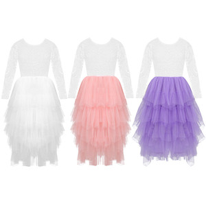 Image 5 - Kids Girls Lace Long Sleeves V shaped Back Tulle Tutu Flower Girl Dress for Wedding Pageant Birthday Party Princess Dress