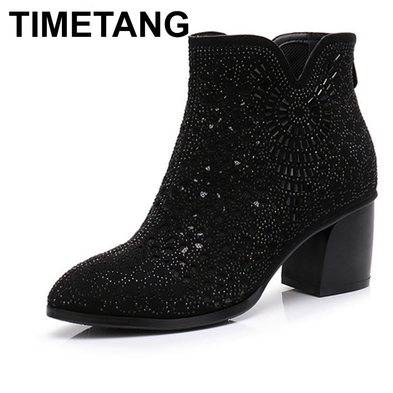 TIMETANG Shoes Women Square High Heels Black Rhinestone Shoes Handmade Mesh cutout Ankle Boots Summer Spring Back zip size alfani new black women s size small s mesh back high low ribbed blouse $59 259