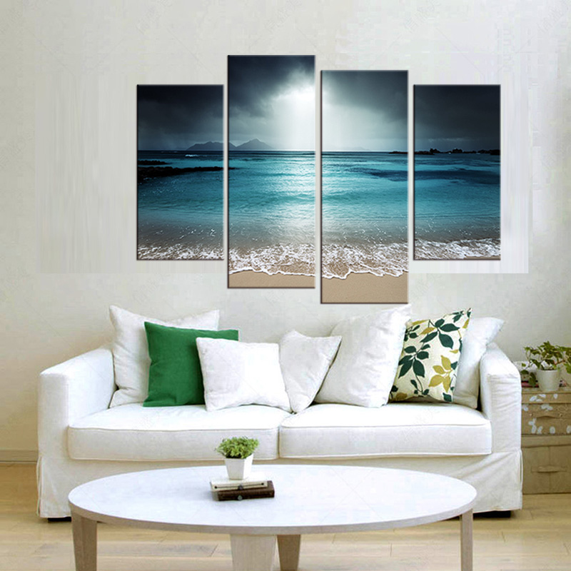 4 Panel Wall Picture Living Room Art Sea View Canvas Painting Module  Picture Poster And Print In Painting U0026 Calligraphy From Home U0026 Garden On  Aliexpress.com ...