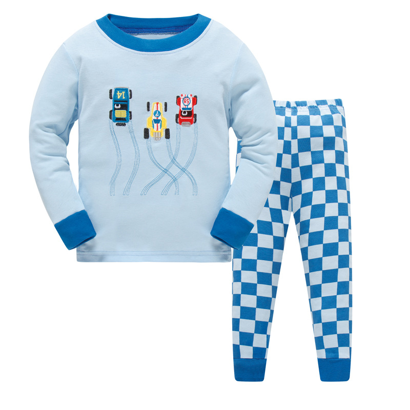 2017 детские пижамы комплекты зимняя детская одежда для мальчиков Sweet Dreams пижамы для маленьких мальчиков автомобиля с длинным рукавом, с геро...