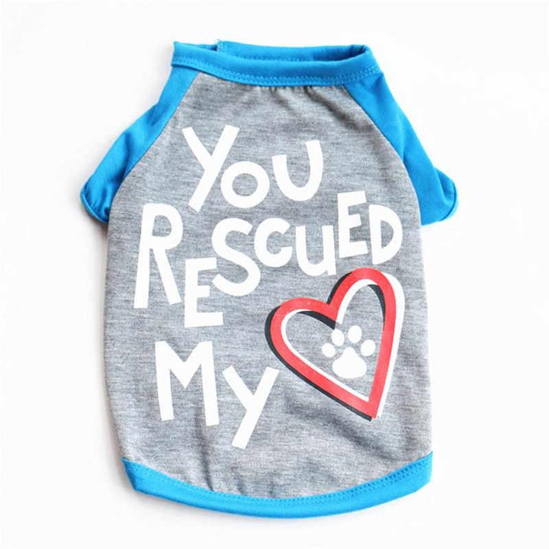Carta Que Você Salvou O Meu Coração Pet Cão Gatinho T Camisa Colete verão Bonito do Filhote de Cachorro Pequeno Vestuário Dress Up Cachorrinho Pegadas Roupas venda