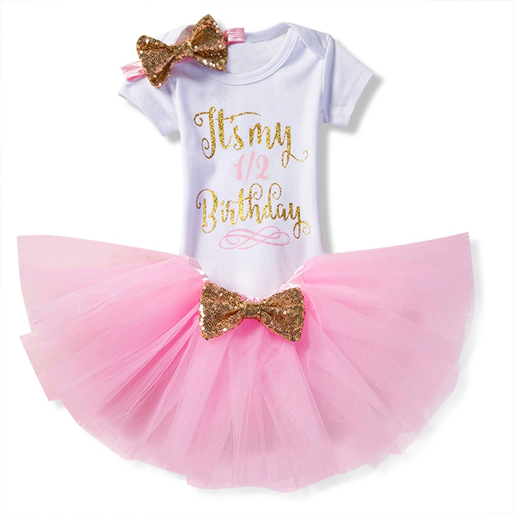 2018 New Summer Newborn Baby Girl 1st 2nd Birthday Party Dress Baby Tulle Tutu Lush Fluffy Dresses Cottion Infant Clothes Suits