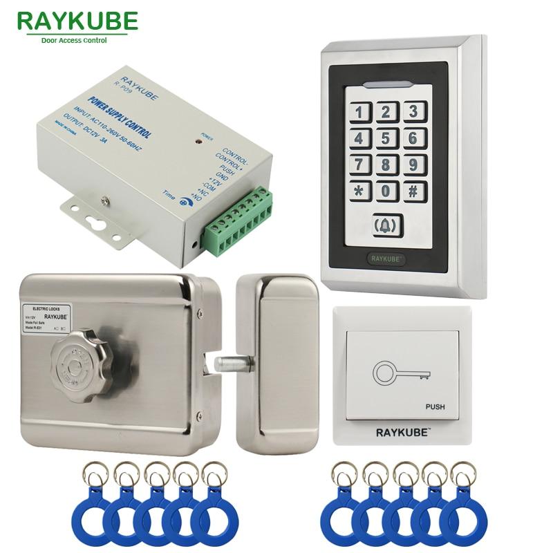 RAYKUBE Moteur Électrique Système de Contrôle D'accès de Serrure Kit + Métal Mot de Passe Clavier + Bouton de Sortie + ID Télécommandes Serrure Électrique Kit complet