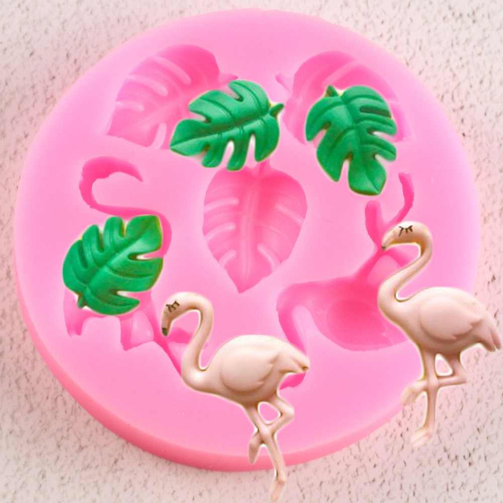 Flamingos Silicone Mold Sugar Craft Fondant Cake Decorating Tools Turtle Leaf Cupcake Candy Fimo Clay Chocolate Gumpaste Molds